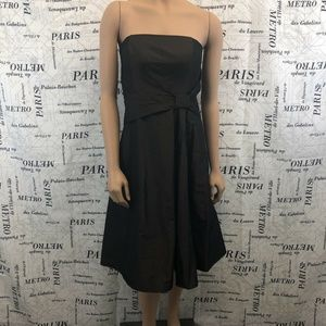 Ann Taylor Dress Solid Brown Formal Strapless
